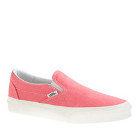 J.Crew Womens Vans Solid Canvas Classic Slip-On Shoes In Washed Hot Coral