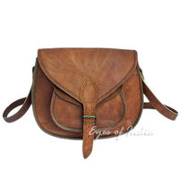 "13"" BROWN GENUINE LEATHER VINTAGE WOMEN'S PURSE BAG BOHO WESTERN HIPPY CLUTCH"