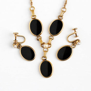 Vintage Jewelry Set - 12K Rosy Yellow Gold Filled Black Onyx Cultured Pearl Necklace & Screw Back Earrings - Retro 1950s Pendant Gem Jewelry