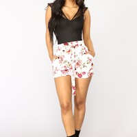 Flower Power Tie Waist Shorts - Ivory