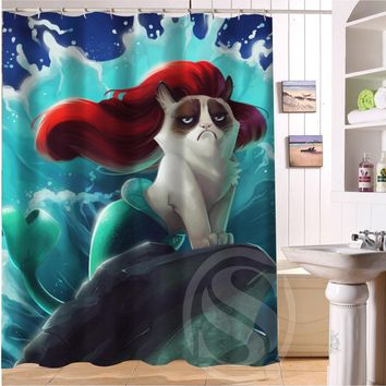 Custom Grumpy Cat of Little Mermaid Waterproof Polyester Fabric Bathroom Shower Curtain Standard Size 66(w)x72(h)