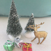 Vintage Mini Christmas Tree, Reindeer, Gifts Fairy Garden Terrarium