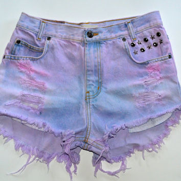 Cotton Candy Studded pastel shorts by NewSpiritVintage on Etsy