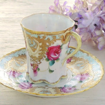 Gilded Gold Demitasse Tea Set, Espresso Tea Cup Set, Gifts for Her, Baby Shower Gift Inspired, Valentines Day