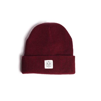Arborist Watchcap Beanie Burgundy - Wearing