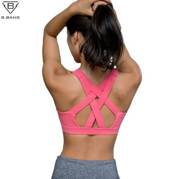 B.BANG Women Yoga Shirt Running Sports Bra Yoga Gym Top Vest Shockproof High Support Workout Bra for Women Activewear