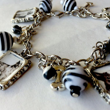 Boston Terrier Charm Bracelet with vintage images black and white beads casual jewelry handmade