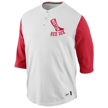 Nike Boston Red Sox Cooperstown Collection Old School Washed Three-Quarter Sleeve Henley - Natural