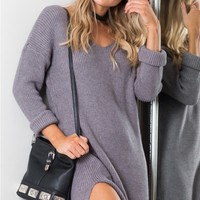 On The Floor knit dress in charcoal Produced By SHOWPO