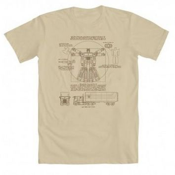 Transformers Optimus Prime As Vitruvian Adult Cream T-Shirt - Transformers - | TV Store Online