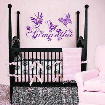 Housewares Girl Nursery Room Personalized Name  Ladybugs Butterfly Wall Vinyl Decal Sticker Kids Nursery Baby Room Decor V332