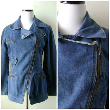 80s DKNY Moto Denim Jacket Vintage Medium Blue Wash Side Zipper Size 8 S/M Small Medium Zip Pockets Wrists 1980s Blue Jean Coat Hipster Boho