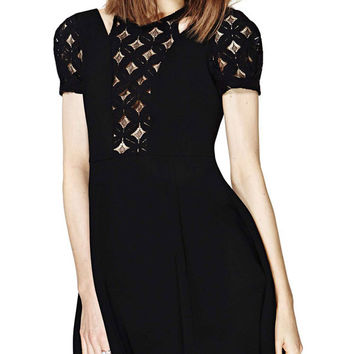 Black Short Sleeve Diamond Lace Cut-Out Skater Dress