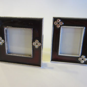 Miniature Burgundy Picture Frames Enameled Crystal Decorated