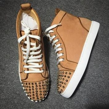 Cl Christian Louboutin Lou Spikes Style #2203 Sneakers Fashion Shoes - Best Deal Online