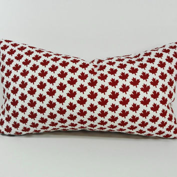 Maple Leaf Decorative Pillow Cover, Canadian Maple Leaf Throw Pillow Cushion, Canada,  Red and White