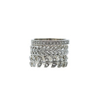 3pc Leaf and RS Pave Stacked Ring Set