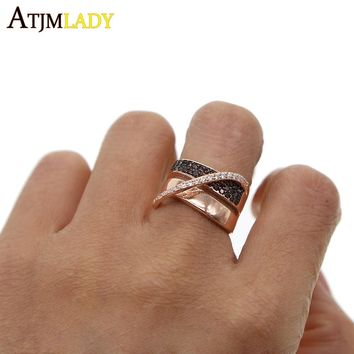 two tone rose gold color coffee cubic zirconia size 6 7 8 925 sterling silver multi wrap women full finger jewelry ring