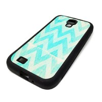 Samsung Galaxy S4 SIV Case Cover Skin Teal Sea Beach Chevron Cute Design Christmas Hipster Design Black Rubber Silicone Teen Gift Vintage Hipster Fashion Design Art Print Cell Phone Accessories