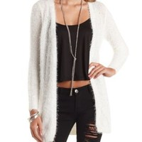 Fuzzy Open Front Duster Cardigan Sweater by Charlotte Russe - Ivory