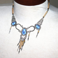 Tribal Necklace, 1970s, Peruvian, Boho, Silver and lear Blue Stone, Tribal, Belly Dancer Necklace