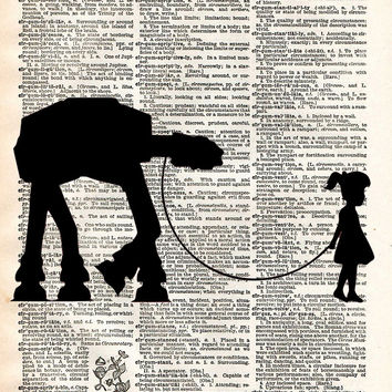 Star wars art print, Little girl walking her AT-AT, dictionary page print