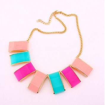 Pink Square Necklace Statement Bib Jewelry,Contrast Color Bib Necklace,Pink Blue Jewelry,Free Gift Box Packaging Available