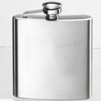Free Engraving Personalized Silver and Matte Finish 6oz Hip Flask