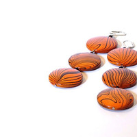 Orange Wooden Dangle Earrings, Long, Modern Valentine's Statement Jewelry