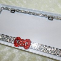 Luxury Bling LICENSE PLATE FRAME Crystallized Kawaii XL RED Bow