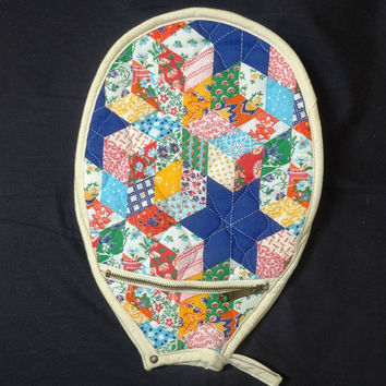 Vintage 1970s Quilted Tennis Racket Cover with Zippered Pocket by Mr. Blackwells, a Pat Gaines Original