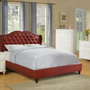 4 pc Janelle II collection burgundy faux leather tufted upholstered queen bed set
