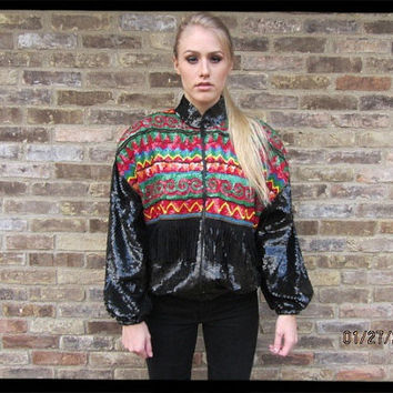 80s Sequined and Fringed Trophy Jacket  THE by VulpineRevival