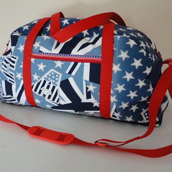 Stars 'n Stripes Duffle Weekend Travel Bag Blue Red Handmade Patriotic