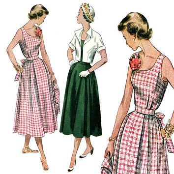 1950s Dress Pattern Bust 30 Simplicity 3196 Full Skirt Sundress Bolero Jacket Adjustable Waist Maternity Dress Womens Vintage Sewing Pattern