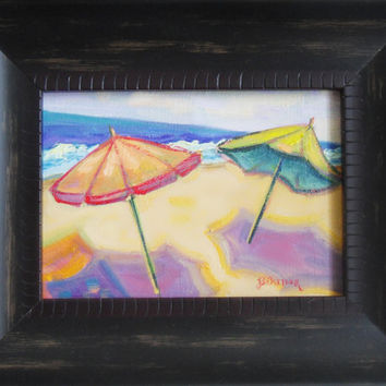 Fine Art Small oil painting original 5x7 framed by brandycattoor