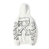 Off-white sketched three-dimensional arrow White hooded hooded sweater coat for lovers and couples