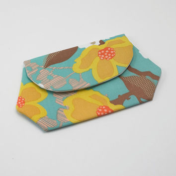 Cell Phone Wallet, iPhone / iPod / Camera Pouch, Snap Clutch Purse in Beautiful Yellow Flower Fabric