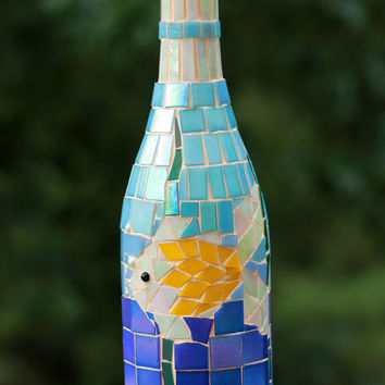 Tropical wine bottle, Mosaic wine bottle, Wine bottle art, Restaurant decor, Glass art