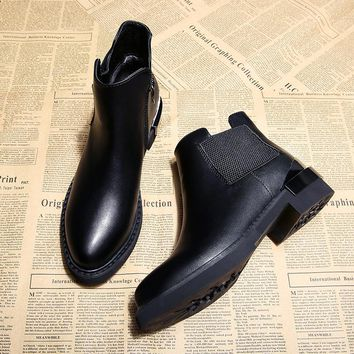 Jookrrix New Autumn Winter Fashion Boots Women Warm Shoes Lady Genuine Leather Chelsea Boots Zip Ankle Boots Breathable Black