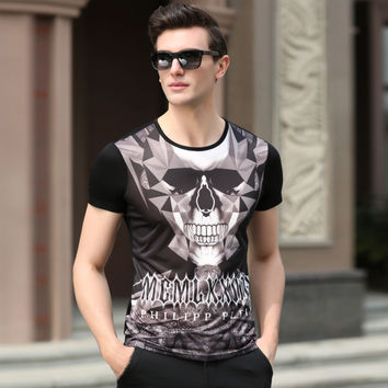 Summer Men's Fashion Men Short Sleeve Cotton Strong Character Print T-shirts [6543956035]