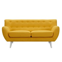 Anke Mid Century Modern Loveseat - Papaya Yellow