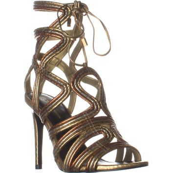 BCBGeneration Jax Heeled Sandals, Python Print Oro Multi, 7 US / 37 EU
