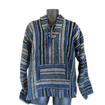 Baja Hoodie Drug Rug Baja Pullover Hippie Hoodie Baja Jacket Men Hippie Clothing Mexican Drug Rug Surf Fashion Ethnic Fashion Baja Clothes