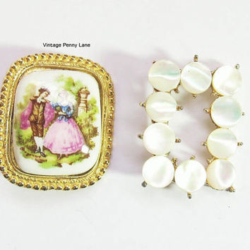 Vintage Pin / Brooch Lot, Cameo, Mother of Pearl