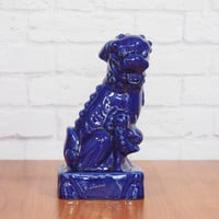 Royal Blue Foo Dog Statue Female Chinese Guardian Lion / Chinoiserie Hollywood Regency Home Decor