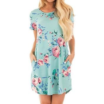 Summer O Neck Floral Print Short Sleeve Dresses Party