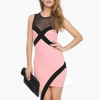 Contrast Sleeveless Asymmetric Wrap Bodycon Mini Dress with Mesh Accent