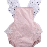 Cotton Newborn Infant Baby Girls Sleeveless Pink Lace Romper backless Jumpsuit Clothes Sunsuit Outfits