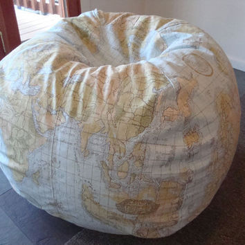 Vintage Style Globe and World Map Bean Bag chair ocean blue and green made to order